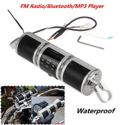 Silver Bluetooth Speaker Mp3 Fm Motorcycle Audio Radio Sound System Stereo