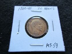 1860-bb 20 Francs Gold Coin France Napoleon Iii Ungraded  Day-02768