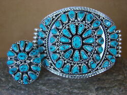 Native American Indian Sleeping Beauty Turquoise Cluster Bracelet Ring Set Nora