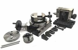 4/100 Mm Rotary Table+horizontal Vertical+tailstock+round Vice+50 Mm 4 Jaw Self
