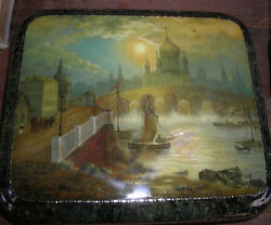 Handpainted One Of A Kind Fedoskino Russian Lacquer Box Old Moscow Riverbank