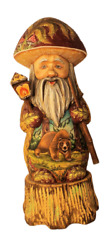 Russian Handcarved And Handpainted Gnome Standing On Wood Stump Grizzly Bear