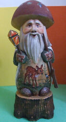Russian Handcarved And Handpainted Gnome Standing On Wood Stump Dear In Forest