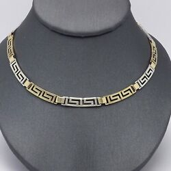 14k Two Tone Gold Greek Key Link Necklace Chain 18in 15 Grams New