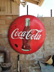 Coca Cola 4' Vintage Button Metal Advertising Coke Sign, Red Org Paint