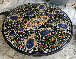 42x42 Round Black Marble Table Top Lapis Mosaic Marquetry Inlay Decors C5665
