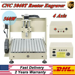 CNC 3040 4 Axis 560W CNC Router Engraver Engraving Drill Milling Desktop Machine