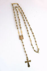 Vintage 10k Gold Tri Color Gold Rosary Cross Virgin Mary 13.5 Grams