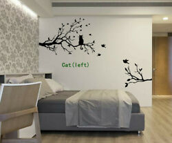 Cat Sitting On Tree Birds Branches Quotes Wall Art Bedroom Sticker Decal Uk 61