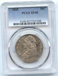 1835 50c Xf 40 Pcgs--toning-capped Bust Halve//