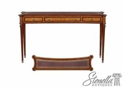L47319 English Design Leather Top Walnut Inlaid Console Hall Table  New
