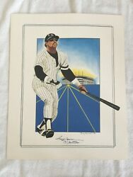 Reggie Jackson Signed Poster By Rudy Edwards, Mr. October W/stadium In Back Drop