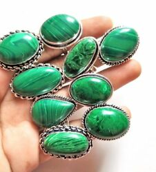 10 To 200 Pcs. Hot Sale Green Malachite 925 Sterling Silver Plated Rings Jewelry