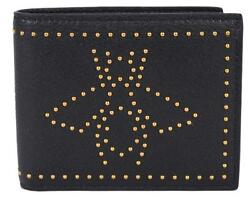 New Gucci Men's 451176 Black Leather Studded Bee Design Bifold Wallet