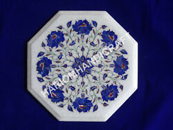 12 Marble White Top Coffee Table Rose Flower Lapis Mosaic Inlay Fine Works C008