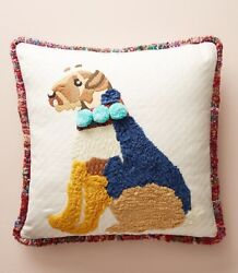 Anthropologie RUFUS PILLOW Dog Terrier Embroidered Pom-Poms Complete Cotton NEW