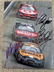 Matt Kenseth Carl Edwards Reed Sorenson Triple Signed 5x7 Photo Autograph Coa