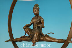 Red Bronze Copper Solid Casting Moon Kwan-yin Buddha Statue Collectable 3.4kg
