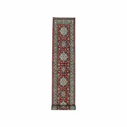 3and0394x19and039 Red Super Kazak Geometric Design Xl Runner Hand-knotted Rug R50456