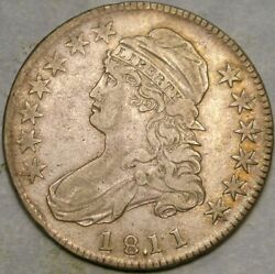 1811/0 Cap Bust Lettered Edge Silver Half Dollar Appealing Tone Scarce Over Date