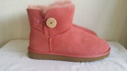 New Ugg Mini Bailey Button Sheepskin Fully Lined Boots. Sz8.