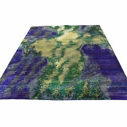 5and039x7and039 Hand Knotted Multicolored Sari Silk Abstract Design Oriental Rug R38720