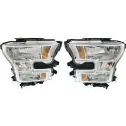 Headlight Set For 2015-2017 Ford F-150 Left And Right Halogen With Bulb 2pc