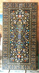 8'x4' Marble Black Dining Top Table Online Marquetry Inlay Arts Home Decor E944A