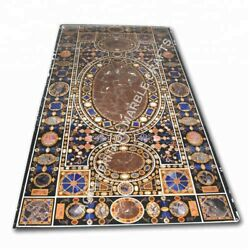 8'x4' Black Marble Dining Center Table Top Multi Gemstone Inlay Home Decor E1002