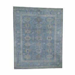 8and0391x10and039 Blue Pure Wool Hand-knotted Fine Oriental Rug R45739