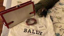 bally handbag clutchhandlesshoulder canvas with leather completely new $120.00