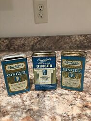 Antique W.t. Rawleighand039s Pure Ground Ginger 3 Advertising Tins 3 Oz. Spice Can