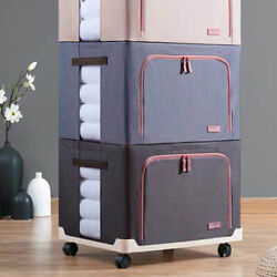 66L Storage Box Holder Clothes Quilt Organizer with Moving Wheel