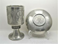 + Beautiful Antique Pewter Chalice And Paten Set + Hand Hammered + 8 Ht Cu500