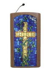 Bronze Church Desk Pulpit Podium Wooden Christian Lectern Stained Glass Front