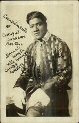 Black Americana Singer Curly B. Johnson Coiffed Hair Fancy Outfit C1920 Rppc
