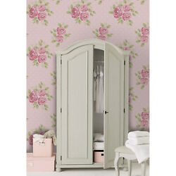 Pink Set Of Cute Shabby Chic Roses Self-adhesive Green And Pink Wall Mural