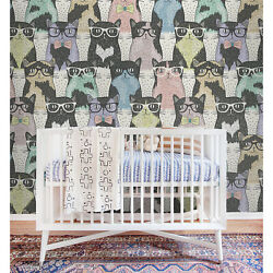 Hipster Cute Cats Removable Wallpaper Gray Blue And Yellow Wall Mural Reusable
