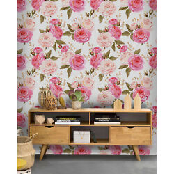 Cute Small Flowers Removable Wallpaper Gray And Pink Wall Mural Design