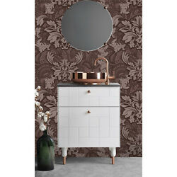 Damask Removable Wallpaper Brown And Gray Wall Mural Design Home Decor
