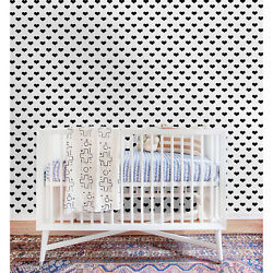 Hearts Cute Pattern Modern Black And White Minimalistic Removable Wallpaper
