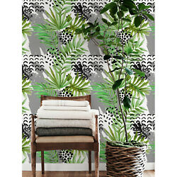 Tropical Ink And Leaves Removable Wallpaper Easy Stick Self Adhesive Wall Mural