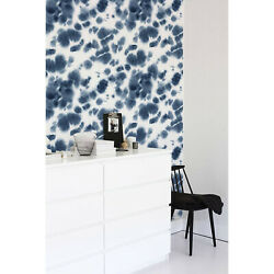 Blue Ink Removable Wallpaper Blue Wall Mural Reusable Self Adhesive Peel And Stick