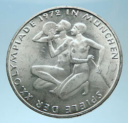 1972 Germany Munich Summer Olympics Xx Athletes On 10 Mark Silver Coin I77922