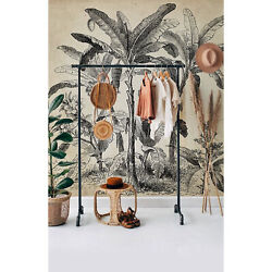 Vintage Palms Non-woven Wallpaper Black And Beige Home Wall Mural Wallcover