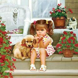 Girl With Small Dog Diamond Painting 5D DIY Cross Stitch Kits Square Drills New