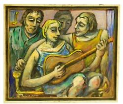 Samuel Heller American, 1902-1997 Oil On Canvas Guitar Playing 30 X 34