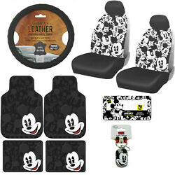13pc Disney Mickey Mouse Car Truck Floor Mats Seat Covers And Steering Wheel Cover