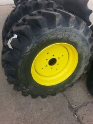 Two 15x19.5 R4 Blem Tractor Tires W/ 6 Hole Rims