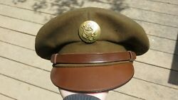 Ww2 Us Army Mililtary Officer Green Felted Wool Cavalry Dress Hat Cap 6 7/8